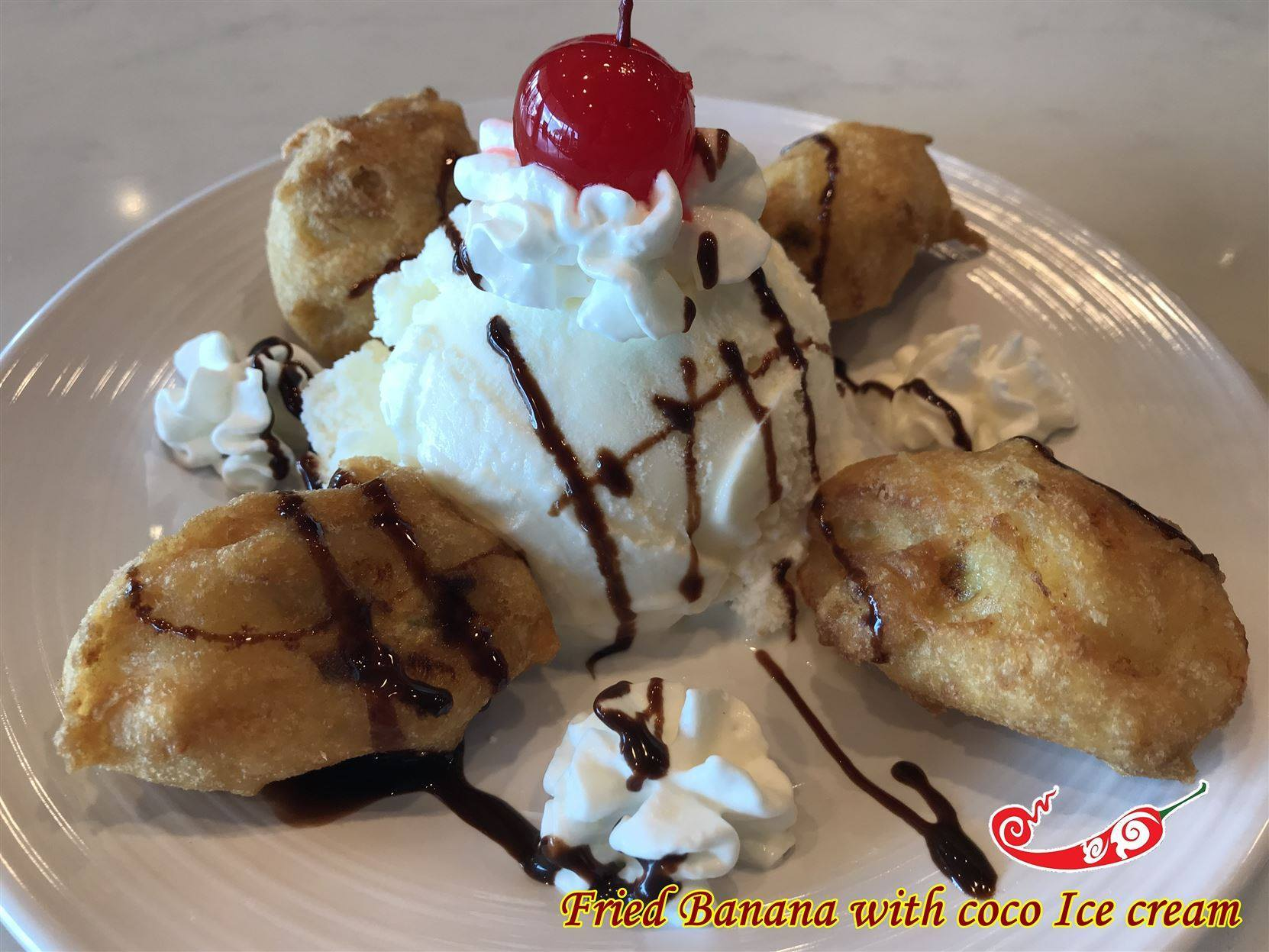Ice cream fried banana Image
