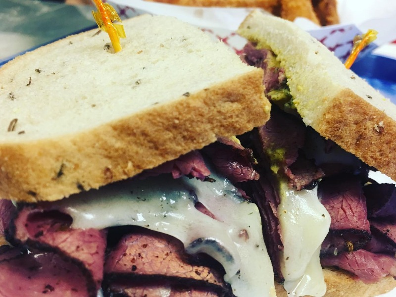 Hot Lean Pastrami Sandwich