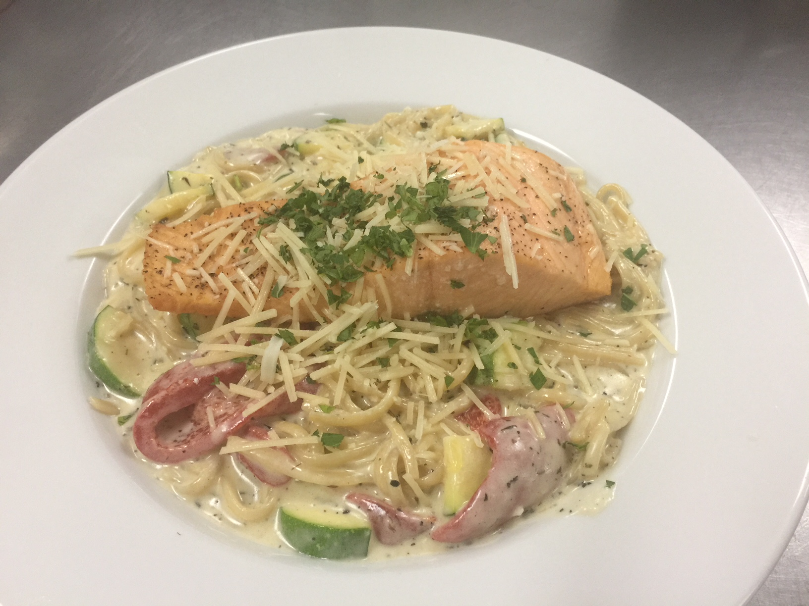 Salmon Alfredo With Roasted Vegetables