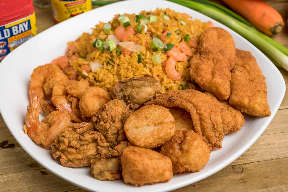 H5. 4 pcs of Each: Scallops, Oysters, Fish Nuggets, Large Shrimps Image