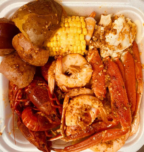B11. Snow Crab Legs (1/2 Lb), Medium Shrimps (1/2 Lb), Crawfish (1/2 Lb) Image