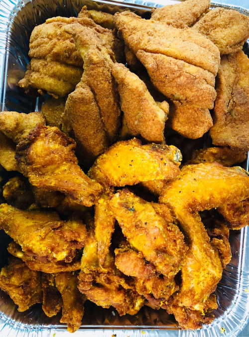 P8. 25 Wings with Fried Fillet Fish (2 lbs)