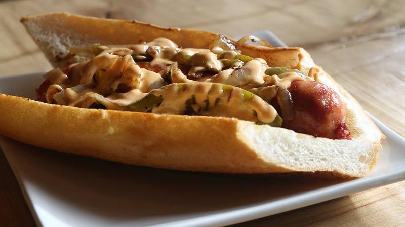 Smoked Alligator Sausage Sandwich Image