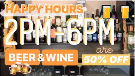 Watami Happy Hours 2 pm to 6 pm Beer & Wine 50% Off